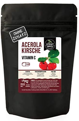 Acerola 120 Kapseln   500mg pro Kapsel   natürliches & unbehandeltes Vitamin C   vegan & ohne Zusätze (120)