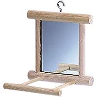 Nobby Miroir avec Cadre/Perchoir en Bois pour Oiseau 10 x 10 x 10 cm