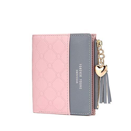 beutel, Quaste PU Leder Portemonnaie Kleine Brieftasche Geldbörse Für Frauen rosa ()