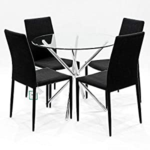 Febland 90cm Round Glass Criss Cross Table with Four Selina Dining Chairs, Chrome, Black, One Size