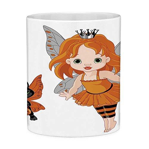 Bleifreie Keramik Kaffeetasse Teetasse Weiß Halloween 11 Unzen Lustige Kaffeetasse Halloween Baby Fairy und ihre Katze in Kostümen Schmetterlinge Mädchen Kinderzimmer Dekor Dekorativ Multicolor