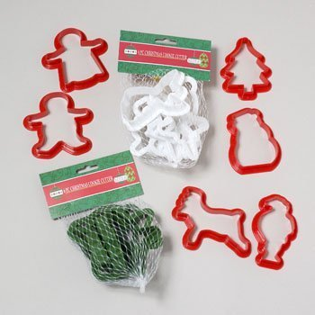 6pk Cookie Cutters Christmas Plastic (Asst. Colors)