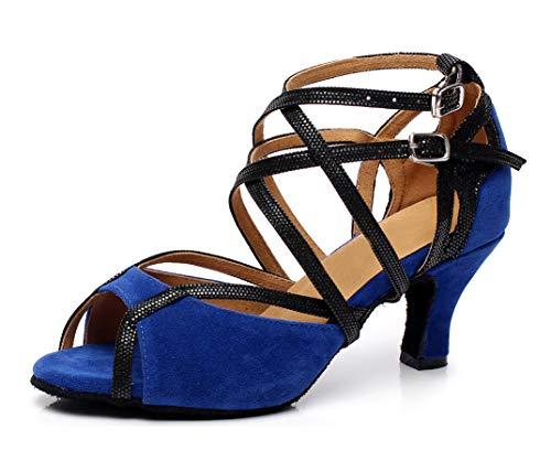 MINITOO QJ6132 Damen Peep-Toe-Absatzschuhe mit Mary-Jane-Riemen, Wildleder, Tanzschuhe für Salsa / Tango, Blau - Blue-6cm Heel - Größe: EU 40 -