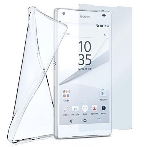 moex Silikon-Hülle für Sony Xperia Z5 Compact | + Panzerglas Set [360 Grad] Glas Schutz-Folie mit Back-Cover Transparent Handy-Hülle Sony Xperia Z5 Compact / Z5 Mini Case Slim Schutzhülle Panzerfolie