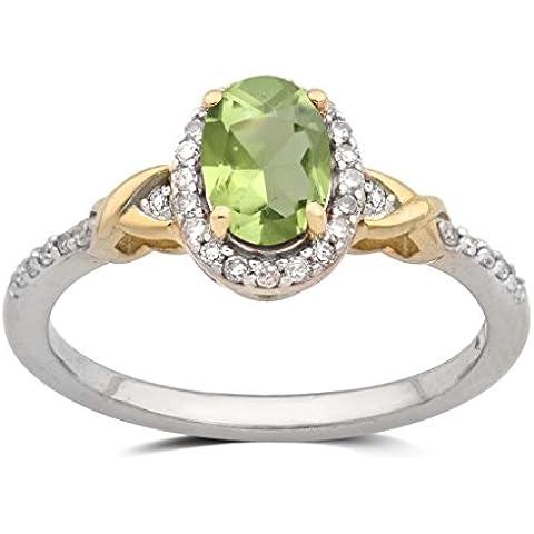 Jewelili 0,15quilates blanco Diamond, Peridot y creado blanco Sapphire Cluster anillo en oro amarillo sobre plata de ley–Talla
