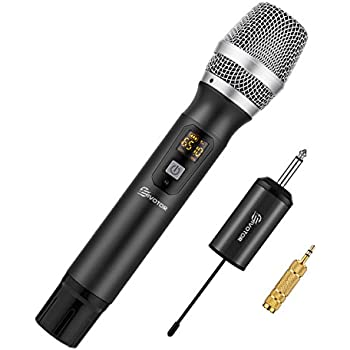 wireless microphone system alvoxcon uhf dynamic handheld mic for iphone computer karaoke. Black Bedroom Furniture Sets. Home Design Ideas