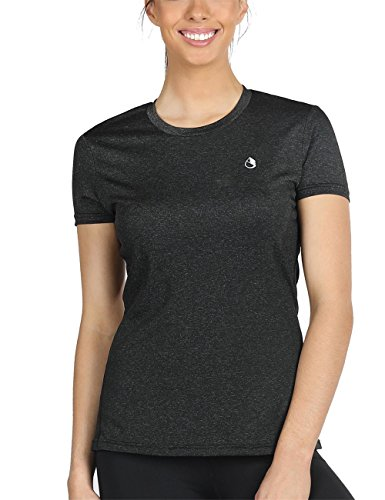icyZone® Damen Sport T-Shirt Running Fitness Shirts Sportbekleidung Kurzarm Oberteile Shortsleeve Top XL Black Heather (Sleeve Athletic Tee Long)
