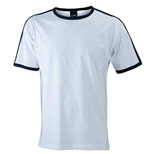 JAMES & NICHOLSON T-Shirt mit Kontraststreifen White/Navy