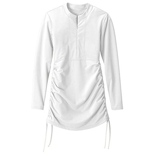 Laixing Women's Surfing Diving Swimming Clothes Swimsuit Long Sleeve T-shirt Beach Suit White