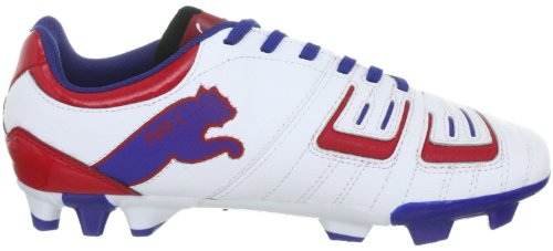 Puma Powercat 3.12 Fg Jr, chaussures de sport - football mixte enfant Blanc - Weiss (white-ribbon red-limoges 04)