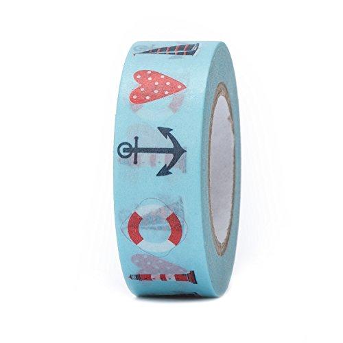 1 Rolle Masking-Tape Klebe-Band, selbstklebend rot blau maritim mit Herz, Schiffs-Anker, Leuchtturm, Segel-Schiff-Boot, 1,5 cm x 10 m