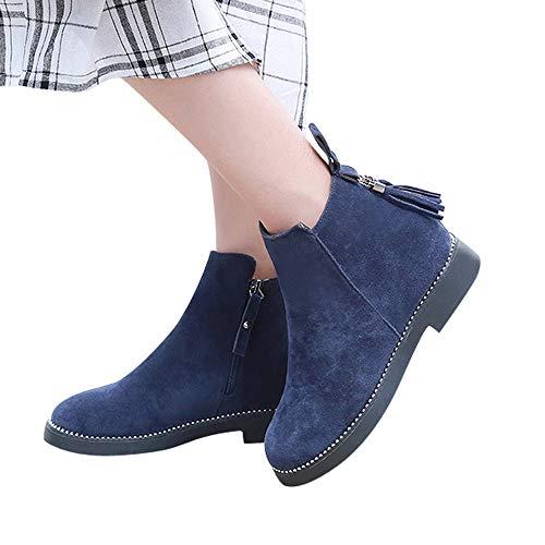 OSYARD Damen Quaste Ankle Stiefeletten Flache Stiefel Chelsea Boots Low-Top Flandell, Frauen Round...