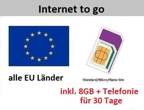 Prepaid Daten SIM Karte (mobiles Internet) für die ganze EU mit 8 GB für 30 Tage (Italien, Spanien, Frankreich, Österreich, Schweden, Griechenland, Kroatien,…)