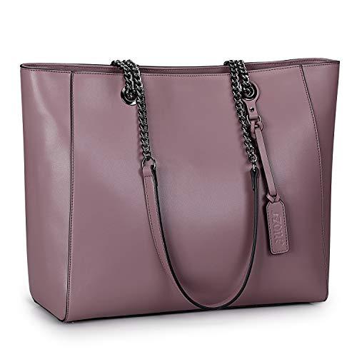 S-ZONE 15,6 Zoll Damen Leder Arbeitstasche Schultertasche für bis zu Laptop, violett (Violett) - S-ZONE D10V113E (Laptop-tasche Damen Geldbörse)