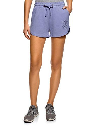 Oodji ultra donna pantaloncini in cotone con laccetti, viola, it 48 / eu 44 / xl