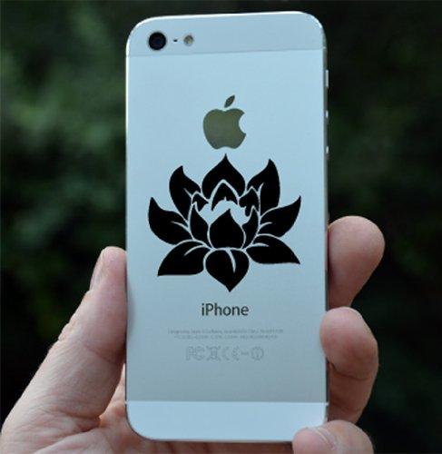 Lotus Flower - Design 1 - Android/iPhone - Vinyl Phone Decal (Black)