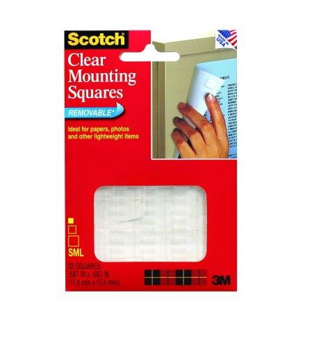 Scotch mmm859 quadratische doppelseitig entfernbare Gummi-Klebesterifen für leichte Gegenstände, 35Stück