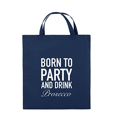 Comedy Bags - Born to Party - Prosecco - Jutebeutel - Kurze Henkel - 38x42cm - Farbe: Navy/Weiss