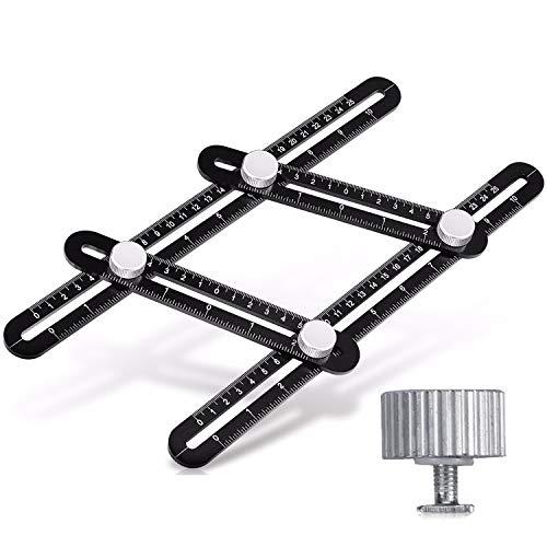 VIDEN Schwarzes Mess-Upgrade Verson Aluminium-Legierung, einfacher Winkel, Lasergravur, multifunktionales Angularizer-Lineal, Vollmetall-Winkelschablone