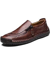 Zapatos Hombre Cuero Mocasines Casual Confortable Zapatos Perezosos Vestir Cómodos para Hombres Negro Caqui Rojo 38