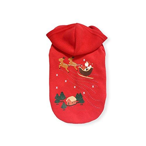 PETCUTE Haustier Weihnachten Kostüme Hund Mantel mit Cap Hoodies Katze Bekleidung Warmer Winter Kleider (Leicht Im Hut Kostüm Katze)