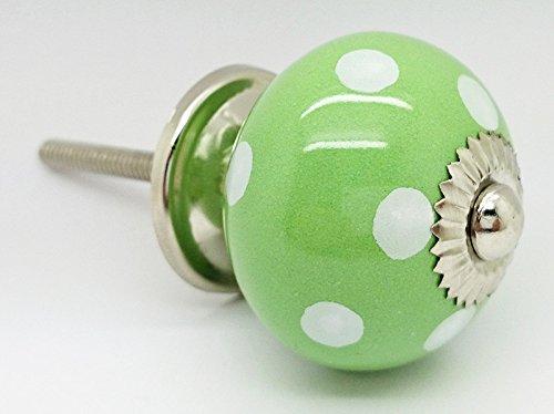 Luce verde a pois pois rotondo vintage shabby chic cassettiera manopola maniglia in ceramica porta 4