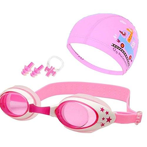 pushfocourag Kinder Brillen Badekappe Set Universal für Jungen und Mädchen Niedlichen Krabbe Schwimmen Brille Wasserdicht Anti-Fog UV-Schutz Baby Cartoon Box, 5#