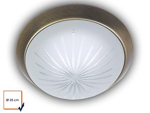 Plafonnier LED, Bol Rond Ø 25 cm en verre satiné avec un Bague décorative de plafond dans laiton antique classique, jolie Applique LED Vestibule avec fermeture à baïonnette