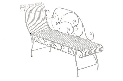 Gartenbank aus Metall in antik Weiß, eine romantische Nostalgie Liege-Bank - Ruhebank mit Ornamenten im Landhausstil
