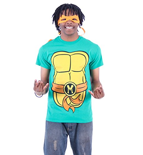 TMNT Teenage Mutant Ninja Turtles Michelangelo Kostüm Grün Erwachsene T-shirt Tee (Turtles Ninja Kostüme Shirt)