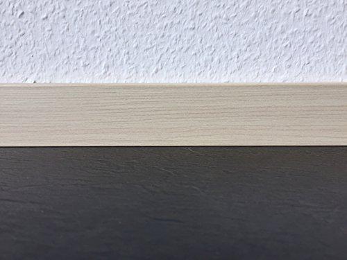 Sockelleisten mit Nut in Ahorn Akzent | Fußleisten mit MDF-Kern | Fußbodenleisten in den Maßen 2,4m x 5,8cm | Wandabschlussleiste mit rückseitiger Clipfräsung & geradem Abschluss | MADE IN GERMANY -