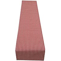 """Janelle Design Foxcote Woven Gingham Check Table runner/bed runner only, in Cherry Red ideal home, caravan, b&b, cafe, hotel, restaurant. Also available wholesale (90"""")"""