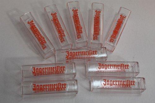 Preisvergleich Produktbild 10x Jägermeister Tooter - Reagenzglas eckig geprägt 0,02