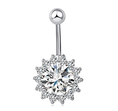 Kingwin Herz Form Zirkon Bauchnabel Ring Diamond-Studded Frauen Bauch Ring Body Jewery