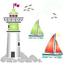 Plantilla de pared con nubes para barco de mar y barco náutico, para uso en
