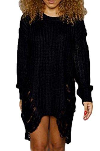 Le Donne Inverno Strappato Parte Tagliata A Maglia Pullover Vestito Sopra Black