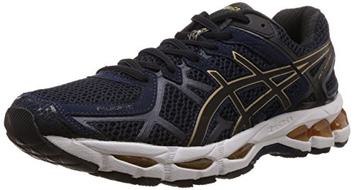 Asics Men's Gel Kayano 21 Indigo Blue, Black and Gold Mesh Running Shoes - 12 UK  available at amazon for Rs.7999