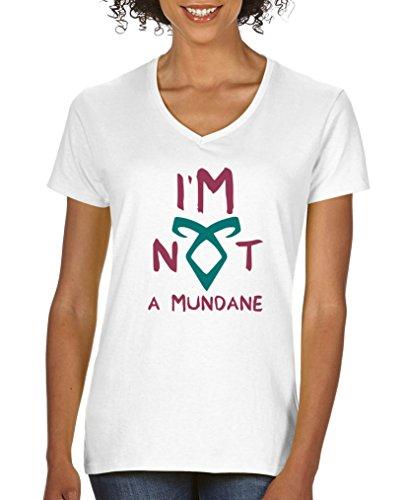 Comedy Shirts - I'm not a mundane - Shadowhunters - Damen V-Neck T-Shirt - Weiss / Fuchsia-Türkis Gr. S