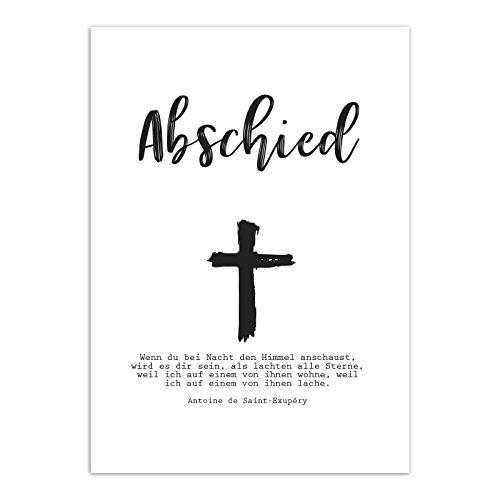 15 x Trauerkarten mit 15 Umschlägen im Set - Motiv Kreuz Kirche - Einladung Beerdigung, Anzeige, Trauer, Sterbefall, Friedhof, Begräbnis