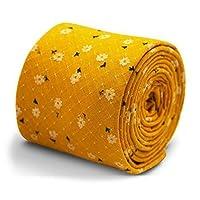 Frederick Thomas Mens Premium Design Tie Handmade Floral Pattern Wedding Style (Mustard Yellow Gold)