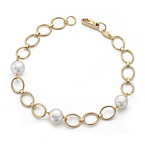 18k braccialetto 18 centimetri d'oro. Pearl Comunione collegamento ovale [9063]