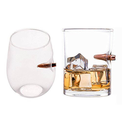 KOBWA - Vaso de Whisky a Prueba de Balas para Whisky, Bourbon Vodka Bar Wine - Vidrio soplado a Mano Duradero - Capacidad para 21,6 g, Vidrio, 13.6 Ounces+ 8.5 Ounces