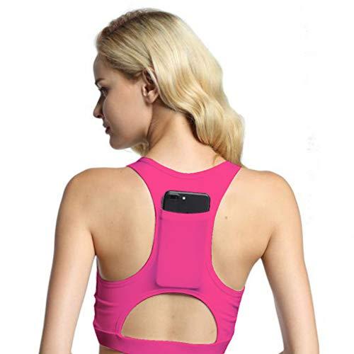 Yvelands Damen Yoga-BH Einteiler Sport-BH atmungsaktiv Fitness 1/2 BH Yoga-BH mit Tasche(Pink,L)