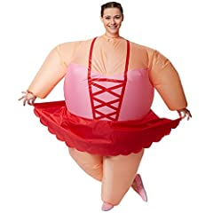 Idea Regalo - dressforfun Costume autogonfiabile da Ballerina Unisex | Gonfiabile in pochi Secondi | Massima libertà di Movimento | Alimentazione a Batteria