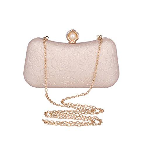 Damara® Fashion Damen Exquisite Clutch Künstlicher Perle Blumen Abendtasche Aprikose