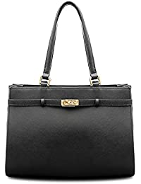 BOVARI sac à main Jackie - cuir de veau à imprimé saffiano - 37x27x16cm - noir