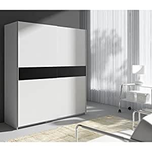 star armoire 170 cm blanc bande noire. Black Bedroom Furniture Sets. Home Design Ideas