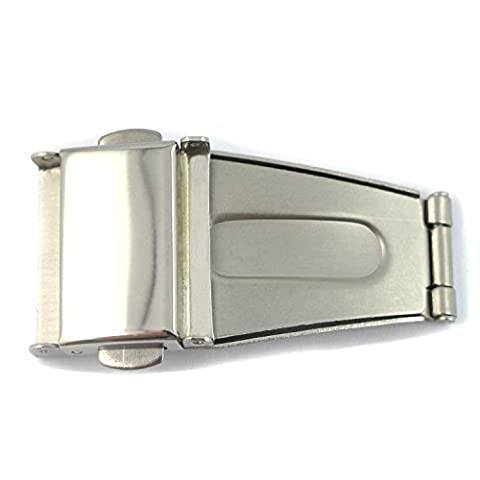 MapofBeauty Silver Watch Band Buckle Stainless Steel Polished Fold Deployment Clasp 18mm