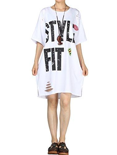 Vogstyle Damen Neue Baumwoll Halbe Hülsen Tunika Oberseiten Beiläufiges Kleid Weiß