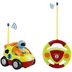 FPVRC Coches Teledirigidos 2 Canales RC Juguetes Radio Control Remoto de Coche Tren con Música y Luces para Bebés Niños de 18 Meses+ (Verde)